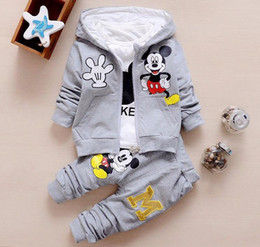 Wholesale Long Down Coat Girls - Children Girls Boys Fashion Clothing Sets Autumn Winter 3 Piece Suit Hooded Coat Clothes 2017 Baby Cotton Tracksuits