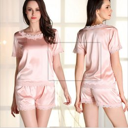Wholesale Woman Elegant Pajamas - Elegant fashion Sexy Lace Pajamas Silk Fabrics Nightgown Robe With Sling And Transparent Backless For Women And Girls