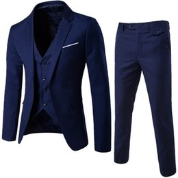 CALOFE Suit + Vest + Pants 3 Pieces Sets Slim Suits Wedding Party Blazers Jacket Men's Business Groomsman Suit Pants Vest Sets от Поставщики костюм из слоновой кости с бордовым воротником