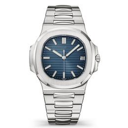 Мужские часы серебряные онлайн-Top Nautilus Watch Мужские автоматические роскошные часы 5711 Серебряный ремешок Синий Нержавеющая сталь Мужские Механические наручные часы Orologio di Lusso Дата Chrono