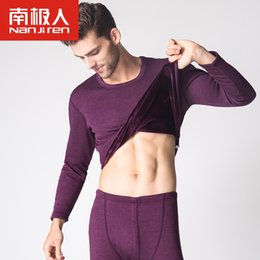 Wholesale Thick Thermal Underwear Velvet - Nanjiren Mens Thermal Underwear Mens Long Johns Velvet Thick Soft Warm Winter Suit Round Neck Youth Tops Pants Sets Hot Winter