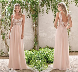 uma coroa flor dama de honra vestidos Desconto New rose gold vestidos de dama de honra uma linha de espaguete backless lantejoulas chiffon barato longo casamento praia gust dress maid of honor vestidos hy234