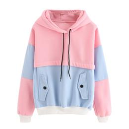 2019 topblock Dotfashion Color Block Kordelzug Mit Kapuze Oberteile Rosa Und Blau Pullover Frauen Langarm Patchwork Sweatshirt Neu günstig topblock