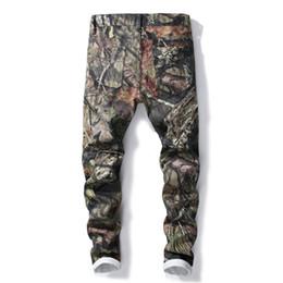 jeans colorati per i mens Sconti New Fashion Uomo 3D Stampato Jeans Slim Fit Camouflage Colorato Painted Strappato Elastico Skinny Uomo Moto Uomo Jeans 5616 #