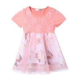 Patrón de mariposa vestidos de verano online-2018 Summer Child Girls Princess Dress Patrón de mariposa Niñas Ropa de algodón de manga corta Vestido de tutú Princesa Ball Gown