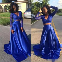 Wholesale Two Piece Evening Wear Tops - Royal Blue Two Pieces Prom Formal Dresses with Long Sleeve 2018 Modest Crop Top Lace Matte Stain Sexy African Plus Size Evening Wear Gown