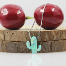 Wholesale Opal Silver Pendant - whole sale1pc lot 11*13mm light green Cactus Opal Necklace 925 Sterling Silver Cactus Opal Necklace & Pendant white of Jewelry