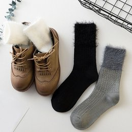 Wholesale Thick Socks For Women Winter - Vintage 1 Pair Cotton Long Knit Loose Socks Autumn Winter Thick Soft Casual Solid Snow Boots Floor Socks for Women Lady Girls