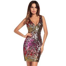3387827aec01 2019 vestiti abbastanza corti xl Donne Sling Bag Hip Sexy paillettes Party  Mini Dress V-