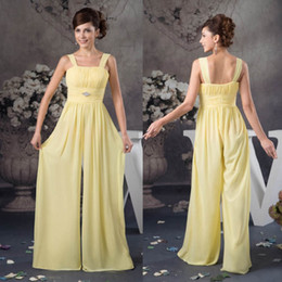 Wholesale dress jumpsuits for women - Babyonline Discount Chiffon Bridesmaids Jumpsuits Dress For Summer Beach Weddings A Line Spaghetti Straps Pleats Long Women Dress WD4-1098