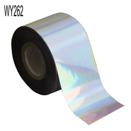 Wholesale Full Nail Foils - foil roll 120m*4cm Rainbow Laser Transfer Foil Rolls DIY Adhesive Full Wrap Nail Sticker Decals Holographic Nail Foils WY262