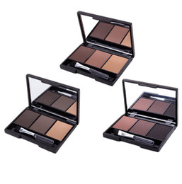 3 Color Eyebrow Powder Palette Cosmetic Brand Professional Waterproof Makeup Eye Shadow With Brush Mirror Box Free Shipping от