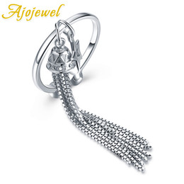 Wholesale long sterling rings - Ajojewel Little Star Long Tassel Pendant Wedding Rings For Women 925 Sterling Silver Jewelry Adjustable Engagement Open Rings