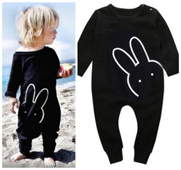 Wholesale Baby Rabbit Rompers - 2018 Baby Rompers Boys Girls Cartoon Rabbit Toddler Romper Clothing INS Black Newborn Onesies Cute Boutique Infant Jumpsuits Clothes
