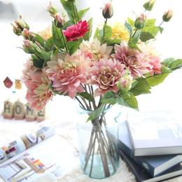 Dalia flores artificiales online-Dahlia Single Branch Plant Artificial Flower Semi Manual Semi Mechanical Simulation Flores para la ceremonia de la boda Decoración del hogar 4 2fh ff