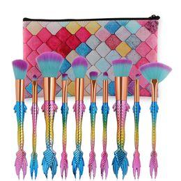 Wholesale Wholesale Plastic Bags For Hair - New 10pcs set Mermaid Makeup Brushes Set For Cosmetic eyeshadow Blush Blending Brush Kit with bag DHL SHIP