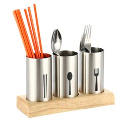 Wholesale Bamboo Floor Kitchen - Stainless Steel Round Chopsticks Storage Holders Base Bucket Spoons Knife Fork Racks Tableware Kitchen Drinking Bar Accessories
