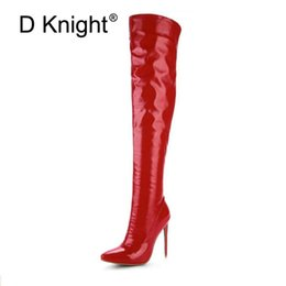 7a6a75dd53b7 Sexy Steel Pipe Dance Boots Plus Size 33-48 Patent Leather Over The Knee  Boots Fashion Side Zip Platform High Heels Shoes Woman