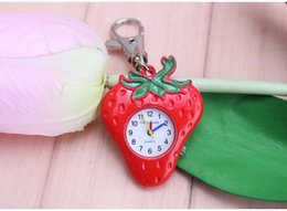 Wholesale Baby Blue Necklace - Table cartoon child of strawberry watch infant girls and boys pocket watch baby toy table key chain and necklace