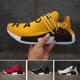 Wholesale Most Yellow - Most comfortable NMD Human Race 1 Hu NMD_TR Shoes Sports Running Shoes discount Athletic mens Outdoor Boost 1s Sports Trainers discount