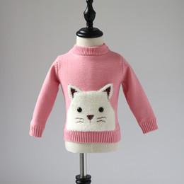 gatinhos de camisola Desconto Meninas camisola manga longa 2018 novo estilo inverno bebê gatinho dos desenhos animados além de veludo grosso suéter bolso tops crianças meninas blusas