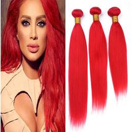 feixes tecer vermelhos quentes Desconto 9A Cabelo Humano Vermelho Brasileiro Weave 3 Pacotes de Seda Reta de Luz Vermelha Virgem Extensões de Trama Do Cabelo 300g Lot Venda Quente