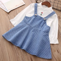 Wholesale Girls Shirts Suspenders - Little Girls Suspender Denim Dresses Outfits 2018 Spring Kids Boutique Clothing Korean Baby Girls Shirt Denim Dress 2 Piece Set