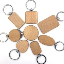 Wholesale Blank Keychains - customize DIY Blank Wooden Key Chain Promotion Rectangle Heart Round Ellipse Carving Key ring Wood Key Chain Ring