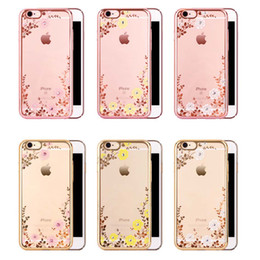 bling flowers wholesale Coupons - 2018 Luxury Bling Diamond Electroplate Frame Soft TPU Phone Case For iPhone 5 6 6s 7 Plus S6 S7 S8 Flower Clear Cover