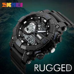 reloj skmei dual Rebajas SKMEI Hombres Relojes Deportivos Reloj de Cuarzo Digital LED Gran Dial 50 M Relojes de Pulsera Impermeable Dual Relogio masculino 1228