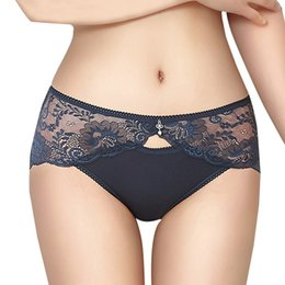 Wholesale Transparent Lace Panties Cotton Seamless - 3 Pieces Sexy Lace Transparent Crotch Panties, Women Mid Waist Cotton Briefs Seamless High Elastic Panty Lingerie Underwear