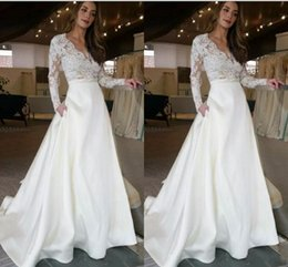 Wholesale plus size empire top - Fashion Long Wedding Dresses With Illusion Long Sleeves Lace See Through Top Skirt With Pockets Designer A line Bridal Dress Wedding Gowns