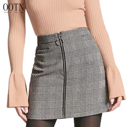 Wholesale Front Pencil Skirt - OOTN Sexy Black White Plaid Skirts Women Short Pencil Skirt Zipper In Front Female 2017 Autumn Winter Bodycon Vintage Casual