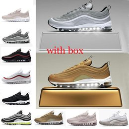 Wholesale white canvas sneakers - with box 97 shoes Triple white black pink Running shoes Og Metallic Gold Silver Bullet Mens trainers Women sports Shoes sneakers size 36-45