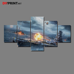 diy red girasoles Promotion Monde des navires de guerre Sparks 5 Panneau Toile Peinture Mur Images pour Salon A1196