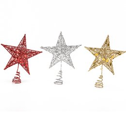 Wholesale Christmas Tree Star Top - 19*16CM Table Christmas Ornament Xmas Decorative Christmas Tree Top Star Star Tree Topper