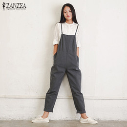9771d3bcfb4 Rompers Womens Jumpsuits 2018 ZANZEA Summer Casual Loose Vintage Sleeveless  Strapless Playsuits Bodysuits Overalls Black Gray
