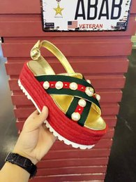 Wholesale Ankle Wrap Flat Sandals - Platform Weave Sandals With Pearls Criss-Cross Leather Gladiators