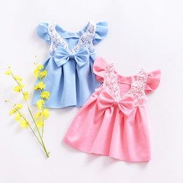 Wholesale Childrens Ball Dresses - Childrens skirt Ins girls dress baby flying sleeves vest lace bow back princess dress 2 color free shipping