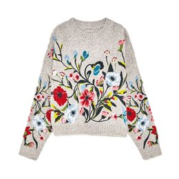 Wholesale Long Cuffed Sweater - 2017 New Grey Round Neck Long And Wide Sleeves Floral Embroidered Multicoloured Flowers Sweater With Ribbed Hem And Cuffs Detail