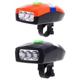 Campana anteriore online-3LED Bike Bicycle Bianco Front Head Light elettronico Bell Horn Hooter Sirena F20