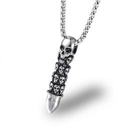 Moda hombre esqueleto bala colgante Cadena Hip Hop Collar largo de acero inoxidable Accesorios del cráneo Diseño personalizado Joyería punky para los hombres desde fabricantes