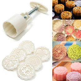 Инструменты лунного пирога онлайн-JX-LCLYL New 50g Round Flower Mooncake Mould 6 Stamps Moon Cake Decor Baking Tool
