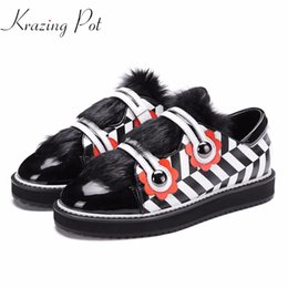 Wholesale Flower Pot Hooks - Krazing Pot 2018 genuine leather horsehair women hook loop mixed color sneaker flowers casual round fashion vulcanized shoes L18