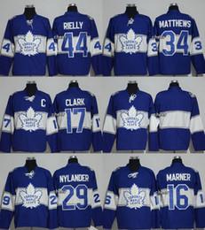 Wholesale Mens Blank Hockey Jerseys - New Mens Toronto Maple Leafs Blank 44 Rielly 34 Matthews 17 Clark 29 Nylander 16 Marner Blue 2017 Centennial Classic Premier Player Jersey