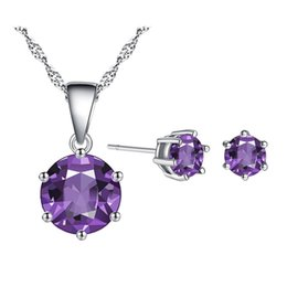 Wholesale Nice Gift Set - Charming Women Jewelry Set 18K White Gold Plated AAA CZ Earrings Necklace Set for Children Girls Women Nice Gift