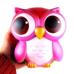 Wholesale Kawaii Kids - Squishy 15cm Pink Owl Jumbo Kawaii Squeeze Bird Animal Cute Soft Slow Rising Phone Strap Squeeze Break Kids Toy Relieve Anxiety Fun Gift