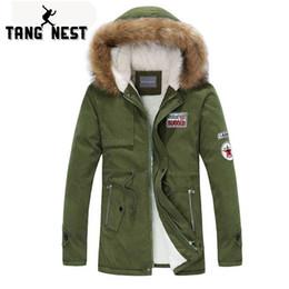 green hooded parka Australia - TANGNEST Men Parka Coat 2018 Men's Warm Korean Style Padded Jacket Male Hooded Casual Winter Coats M-3XL MWM495