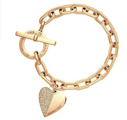 Wholesale Fashion Wrist Cuffs - luxury women bracelet Fashion Exquisite Link Chain Polishing Crystal Gold Sliver Rose Gold Wrist Bracelet Trendy Heart Metal Cuff Bracelet