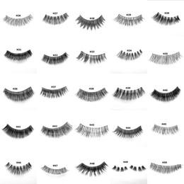 Pestañas de cabello humano real online-Nueva llegada 3D Real cabello humano pestañas pestañas falsas extensión suave pestañas falsas maquillaje de ojos pestañas 64 estilos